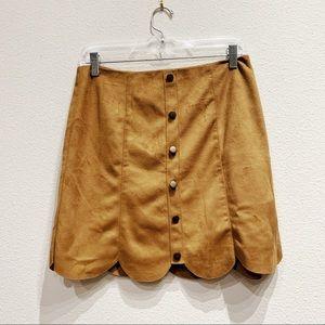 Lauren Conrad suede scalloped a-line Skirt